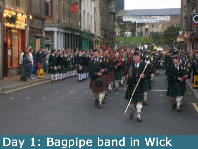 Bagpipe band in Wick